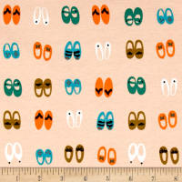 Cloud9 Fabrics Organic Sidewalk Interlock Knit Fancy Steps Shoes Pink