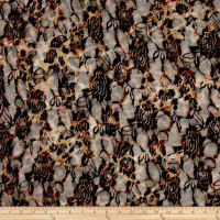 Stretch Lace Animal Skin Brown