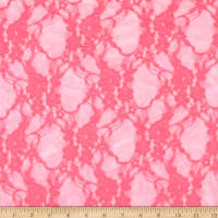 Stretch Lace Floral Hot Fluorscent Pink