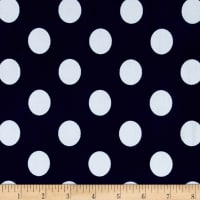 Stretch ITY Jersey Knit Dot Navy and White