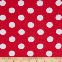 Rayon Challis Medium Dots Coral White