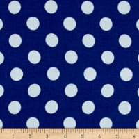 Rayon Challis  Medium Dot Royal White