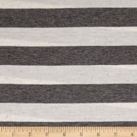 Jersey Knit Medium Gray Stripes on White