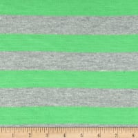 Jersey Knit Stripe Neon Green/Light Gray
