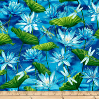 Kanvas Dance Of The Dragonfly  Metallic Waterlily Pool Ultramarine