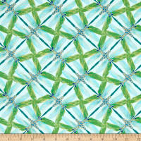 Kanvas Dance Of The Dragonfly Metallic Pinwheel Geo Aqua/Green