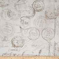 "Tim Holtz Eclectic Elements 108"" Quilt Backing Correspondence Taupe"