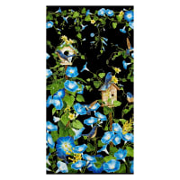 "Timeless Treasures Metallic Morning Glory 24"" Panel Black"