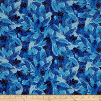 Timeless Treasures Metallic Morning Glory Packed Feathers Blue