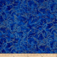 Timeless Treasures Metallic Morning Glory Bird Toile Blue