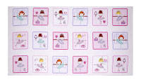 "Bella-rina Ballet Girls in Boxes 24.5"" Panel Pink White"