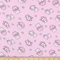 Gauze & Effect Double Gauze Teacup Kitten Pink