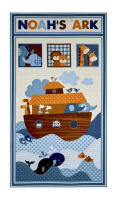 "Noah's Story 23.5"" Noah's Ark Panel Cream Blue"