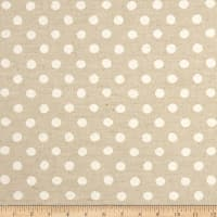 Kaufman Sevenberry Canvas Natural Dots Large White