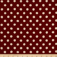 Kaufman Sevenberry Canvas Natural Dots Large Red
