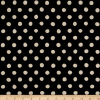 Kaufman Sevenberry Canvas Natural Dots Large Black