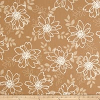 Kaufman Sevenberry Canvas Cotton Flax Prints Flowers Natural