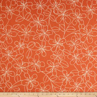 Kaufman Sevenberry Canvas Cotton Flax Prints Etched Flowers Melon