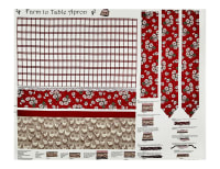 """Farm To Table Apron 36"""" Panel Red"""