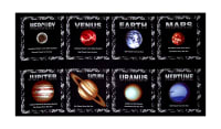 "Cosmic Space Planet Blocks 23.5"" Panel Black"