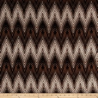 Stretch ITY Jersey Knit Designer Zigzag Brown