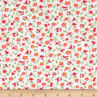 Corduroy Tossed Flowers White