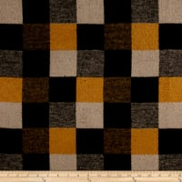 Brushed Wool Blend Coating Mustard/Grey/Black