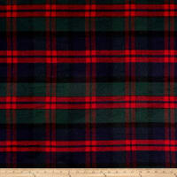 Brushed Wool Blend Coating Plaid Red/Navy/Green