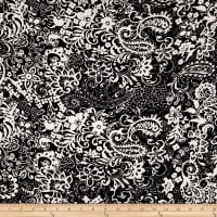 Rayon Challis Floral / Paisleys on Black And White