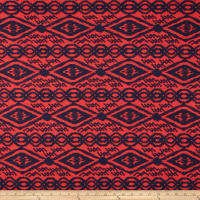 Fashion Jersey Knit Navy GeoDiamond on Red