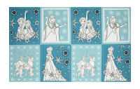 "Disney Frozen Book Pages 24"" Panel Teal"