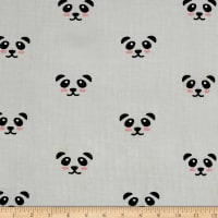 Riley Blake  Panda Double Gauze Grey
