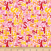 Riley Blake Crayola Colorfully Creative Jersey Knit Crayola Alphabet Pink