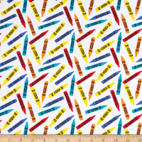 Riley Blake Crayola Colorfully Creative Knit Crayola Crayon White