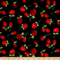 Timeless Treasures Glamour Tossed Rose Buds Black