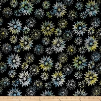 Timeless Treasures Tonga Batik Rose Snowflake Mix Noir