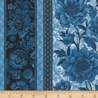"Timeless Treasures True Blue 11"" Floral Stripe Blue"