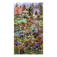 "Timeless Treasures Flower Market Scenic 24"" Double Border Garden"