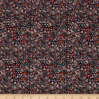 Liberty Fabrics Dufour Jersey Knit Adriatic Black/Coral