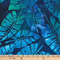 Kaufman Artisan Batiks Totally Tropical Leaves Caribbean
