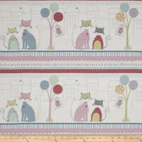 "Stof Fabrics Down Town Kitty Sitting Cat 24"" Panel Scenic White"