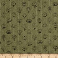 Kokka Trefle Flowers Double Gauze Green