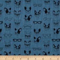 Kokka Soft Animals French Bull Dogs Double Gauze Navy
