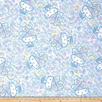 Kokka Sanrio Hello Kitty Fancy Brain Sheeting Light Blue