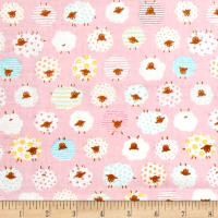 Cosmo The Flock Sheep Printed Double Gauze Pink