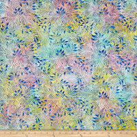 Benartex Balis Batik Color Pop Lilly Leaves Pastel Multi