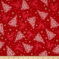 Holiday Editions Tonal Tree & Reindeer Red Metallic