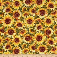 Bountiful Harvest Sunflowers Yellow Metallic
