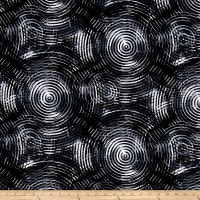 "Circle Play 108"" Wide Back Ombred Circle Geometric Black Grey"