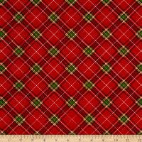 Season's Greetings Diagonal Plaid Red/Green